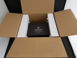 Singularity watch ready to be dispatched. Just close the lid and ready to be collected by the courier