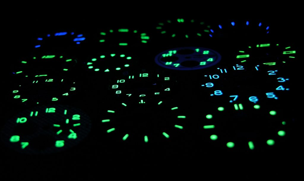SuperLuminova dials displayinfg luminous effect in the dark
