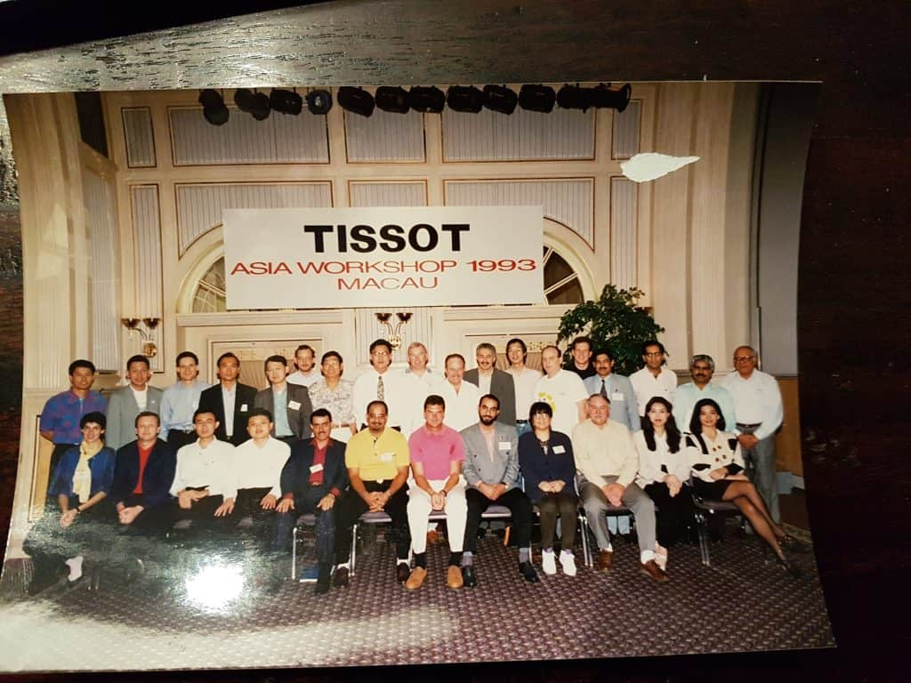 A group shot of all the retailers and distributors who attended the 1993 Tissot Asia Workshop Held in Macau