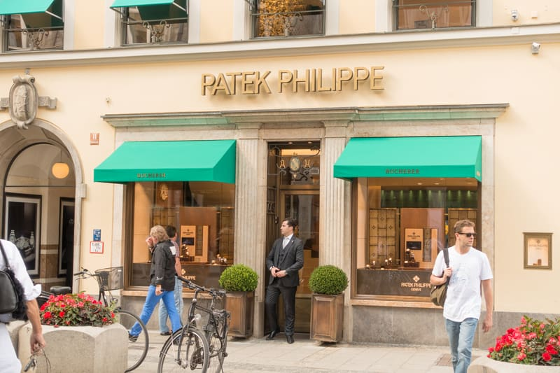 there are no counterfeit watches at the authorized dealer. Here a gentleman leaves a Patel Phillipe store.