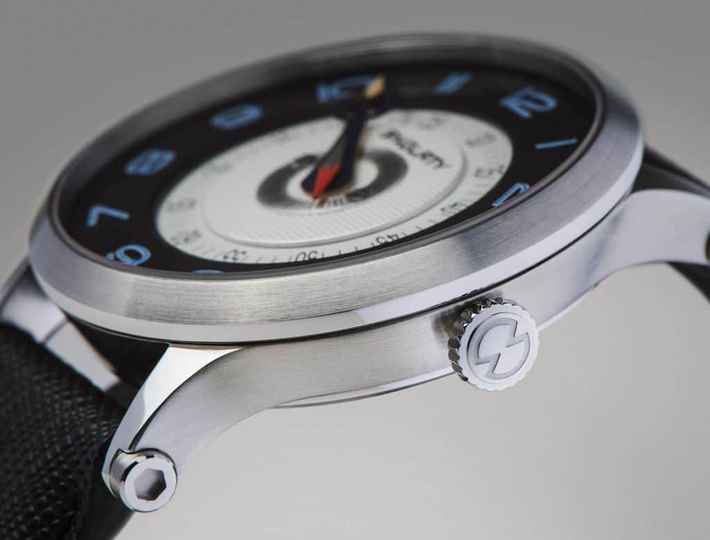 patented singl-hand watch with curved slightly fancy lugs